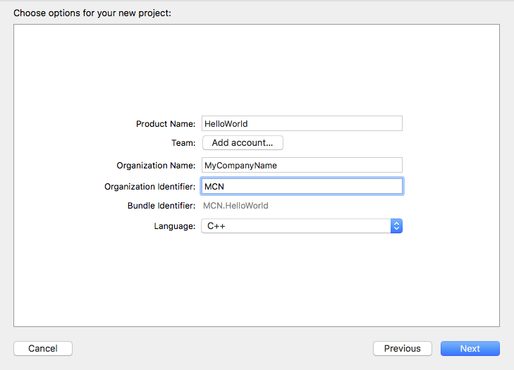 Xcode C++ Choose Options